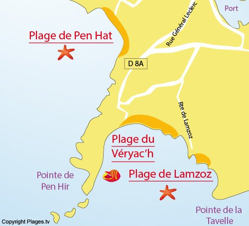 Map of Lamzoz Beach in Camaret sur Mer - peninsula of Crozon