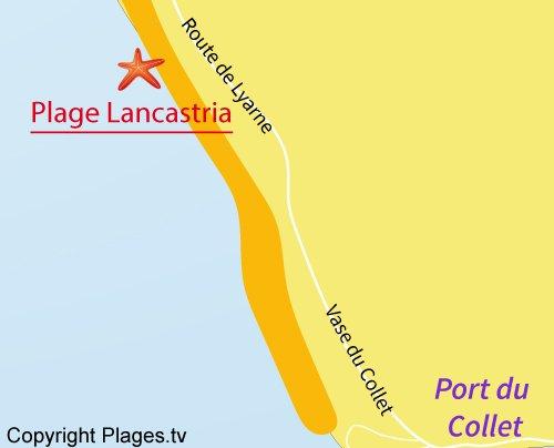 Carte de la plage de Lancastria à Les Moutiers en Retz