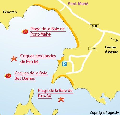 Carte de la plage des landes de Pen Bé - Assérac