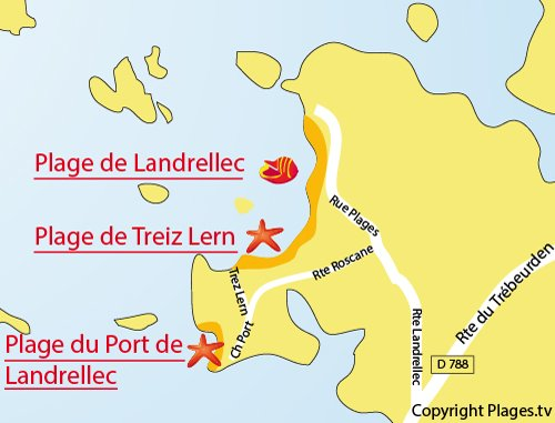 Plan de la plage de Landrellec à Pleumeur Bodou