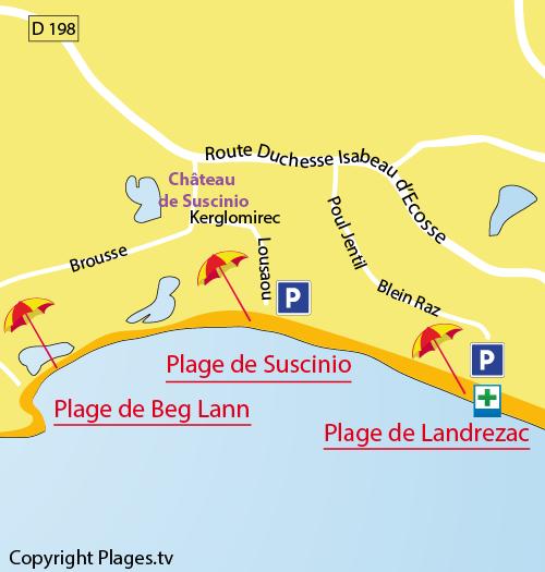 Plan de la plage de Landrezac à Sarzeau