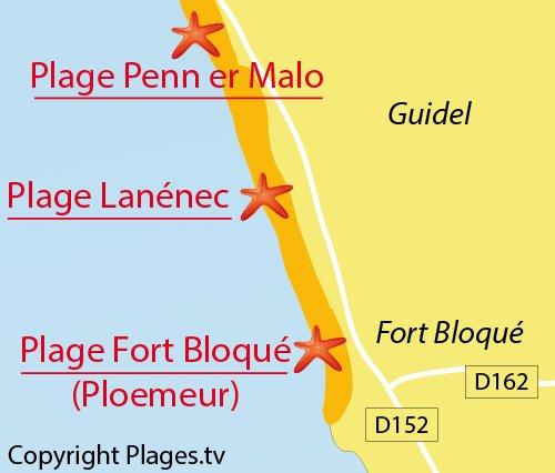Carte de la plage de Lanénec à Guidel