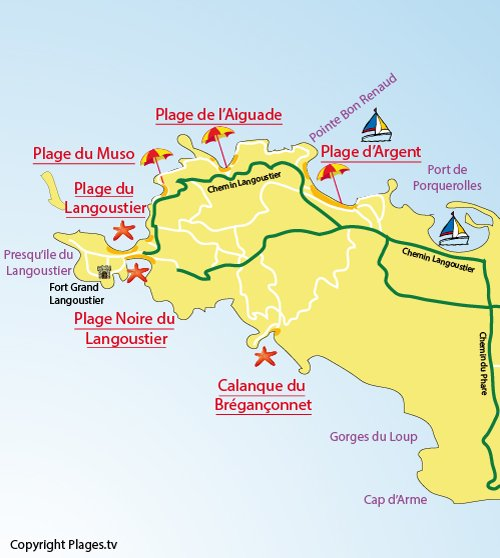 Map of Langoustier Beach in Porquerolles
