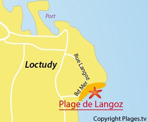 Carte de la plage de Langoz à Loctudy