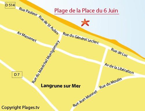 Carte de la plage de Langrune sur Mer