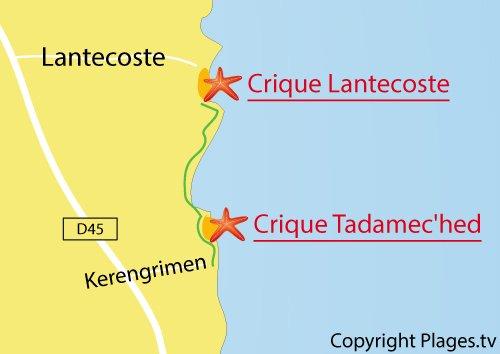 Carte de la plage de Lantecoste à Fouesnant