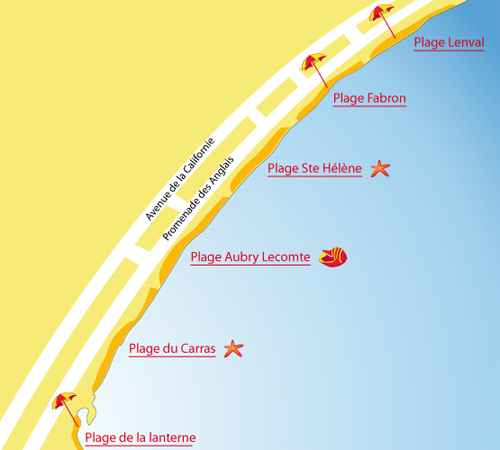 Map of the Lanterne Beach in Nice in France