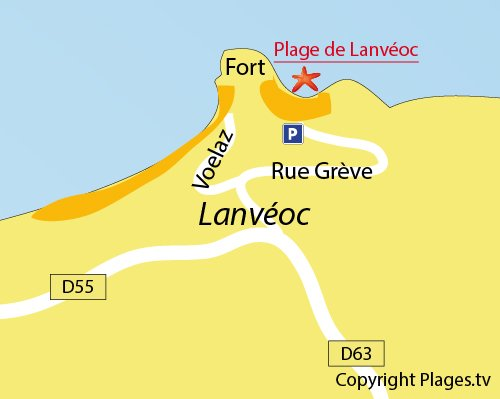 Plan de la plage de Lanvéoc