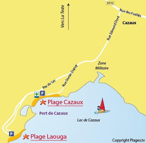 Plan de la plage de Laouga au lac de Cazaux