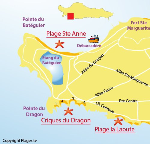 Map of Laoute Beach - Ste Marguerite island - Lerins