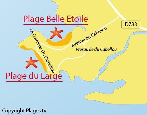 Carte de la plage du Large à Concarneau