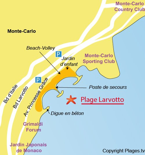 Carte de la plage du Larvotto à Monaco - Monte Carlo
