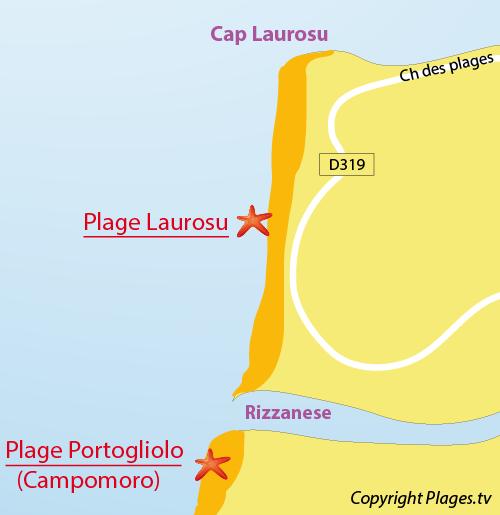Map of Laurosu Beach in Propriano in Corsica