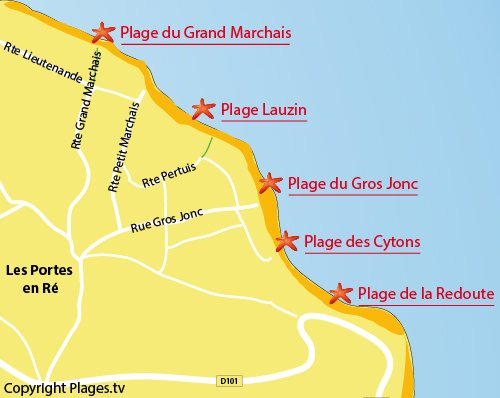 Map of Lauzin Beach - Island of Ré