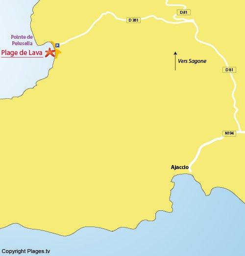 Carte de la plage de Lava en Corse