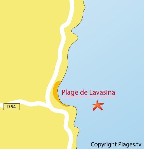 Carte de la plage de Lavasina en Corse