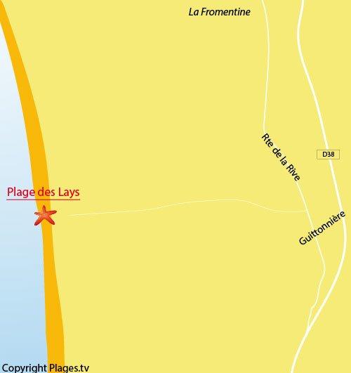 Carte de la plage des Lays - La Barre de Monts