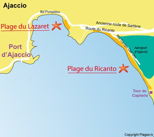 Map of Lazaret or Corse Azur Beach in Ajaccio