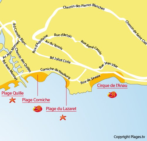 Map of Lazaret Beach in Sète