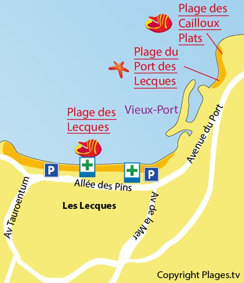 Map of Lecques Beach  in St Cyr sur Mer
