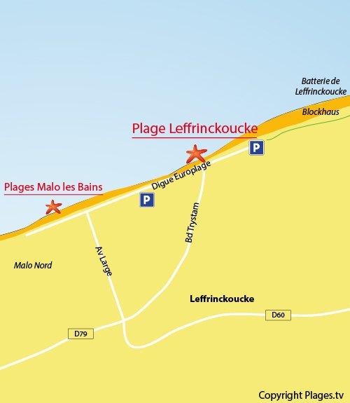 Mappa della spiaggia di Leffrinckoucke - Dunkerque - Francia