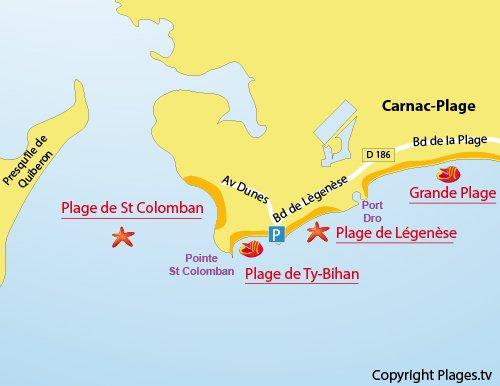 Map of Légenèse Beach in Carnac