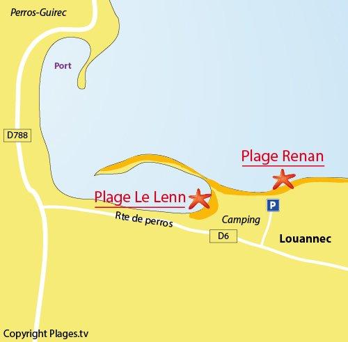 Carte de la plage du Lenn à Louannec