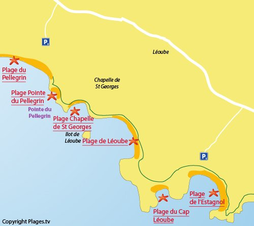 Map of Leoube Beach in Bormes les Mimosas