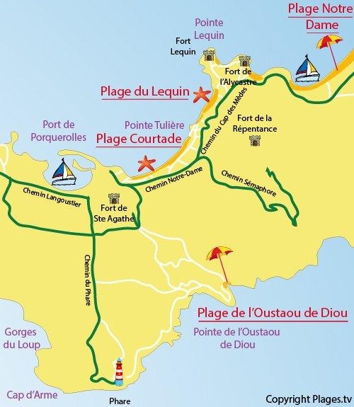 Carte de la plage de Lequin à Porquerolles