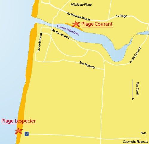Mappa della Spiaggia Lespecier a Mimizan
