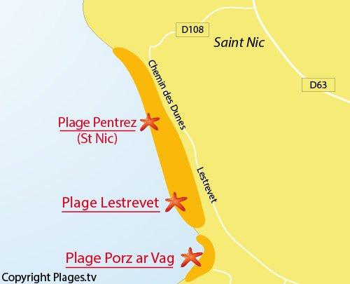 Carte de la plage de Lestrevet à Plomodiern