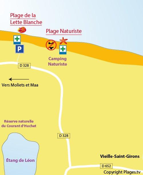 Plan de la plage de la Lette Blanche et de la plage naturiste de Saint Girons dans les Landes
