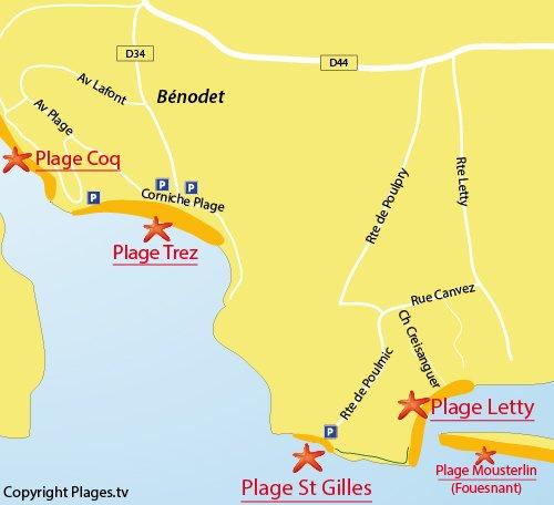 Carte de la plage de Letty à Bénodet