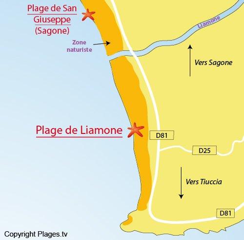 Plan de la plage de Liamone à Casaglione