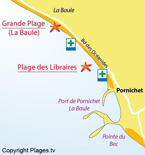 Plan de la plage des Libraires à Pornichet