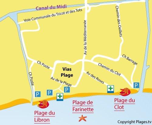 Plan de la plage du Libron à Vias