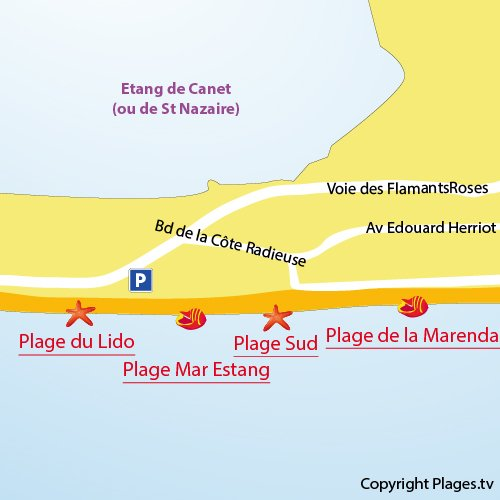 Map of Lido Beach in Canet-en-Roussillon in France