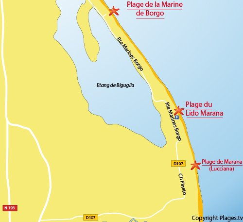 Map of Lido de la Marana Beach in Borgo in Corsica