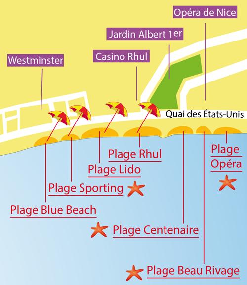 Carte de la plage du Lido à Nice