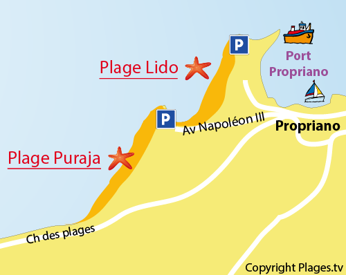 Map of Lido Beach in Propriano