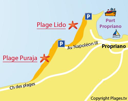 Mappa della Spiaggia del Lido a Propriano