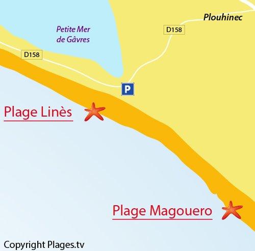 Carte de la plage de Linès de Plouhinec