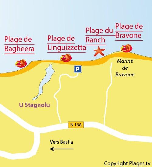 Map of Linguizzetta beach in Corsica