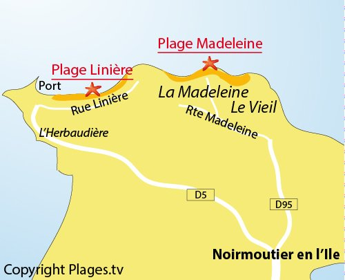Map of the Liniere Beach in Noirmoutier