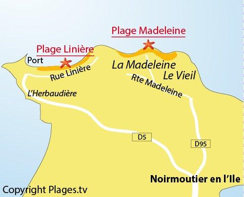 Plan de la plage de la Linière à Noirmoutier