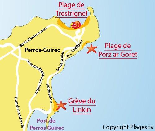 Plan de la plage du Linkin à Perros Guirec