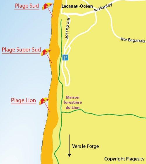 Carte de la plage du Lion à Lacanau - plage océane