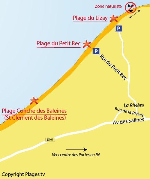 Carte de la plage du Lizay aux Portes en Ré
