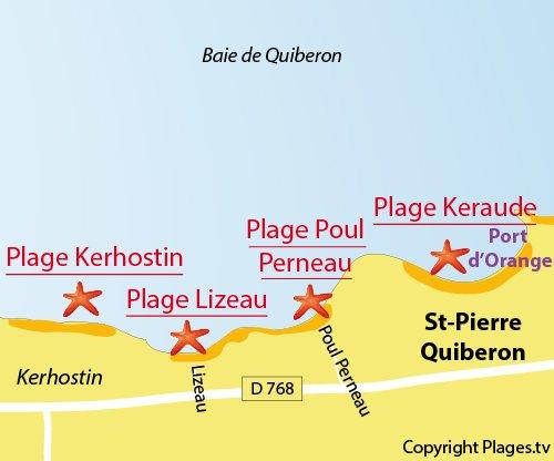 Carte de la plage du Lizeau et de Poul Perneau à St Pierre Quiberon