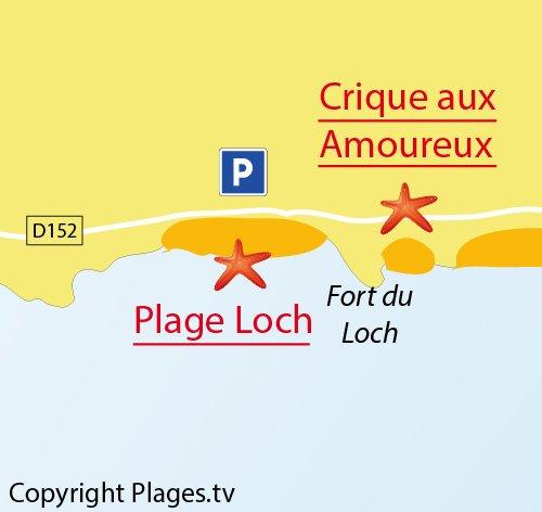 Carte de la plage du Loch à Guidel